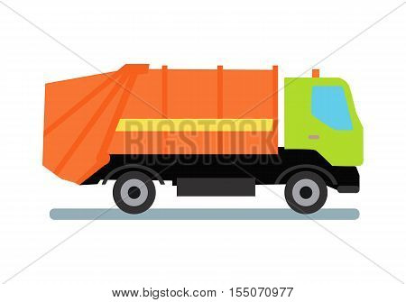 Orange garbage truck transportation. Tipper with green cabin and orange vehicle. Recycle truck icon. Truck for assembling and transportation garbage. Vector illustration in flat style design.