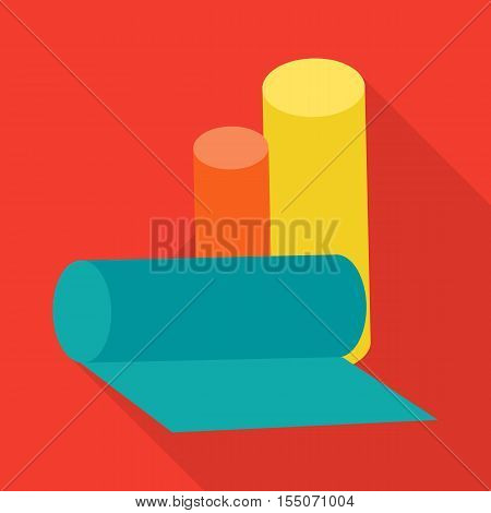 Color rolls of garbage bags vector illustration in flat style. Trash bags picture for household, ecological conceps, web, app, icons, infographics, logotype design. Isolated on white background.