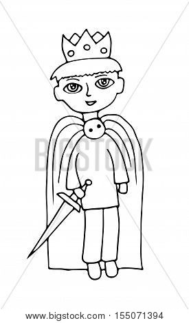 Little boy in suit of a prince with crone on the head standing over white background. Coloring book page for kids and adults.