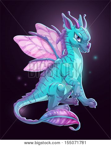 Cartoon blue fantasy dragon on dark background. Vector illustration.