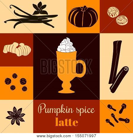 Pumpkin spice latte. Vector illustration with pumpkins, nutmeg, ginger, cloves, cinnamon, allspice, star anise, coffee cap, whipped cream on ginger background. Black silhouettes. For menu, tag, label