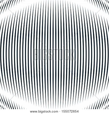 Optical background with monochrome geometric lines. Moire pattern trance effect.