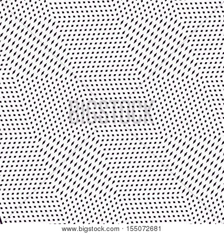 Moire pattern monochrome vector background with trance effect. Optical illusion creative black and white graphic backdrop.