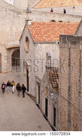 DUBROVNIK, CROATIA - NOVEMBER 30: Saint Sebastian and Saint Luke Church in Dubrovnik, Croatia on November 30, 2015.