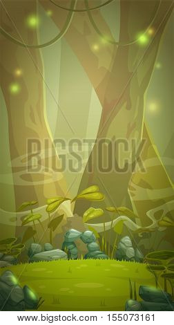 Fantasy cartoon forest scene. Vertical background for game design