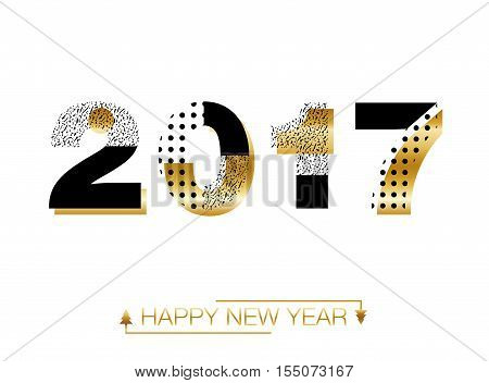 Gold glitter New Year 2017 text in modern style. Happy New Year 2017. Vector New Year background