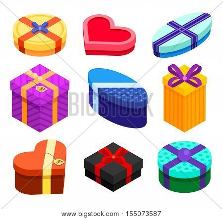 Set of isometric Gift boxes isolated on white background. Present and gift color boxes with ribbon bows for birthday Christmas New year and other holidays. Stock vector