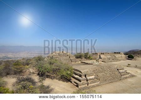 Aerial view to Monte Alban ruins under bright sunlight