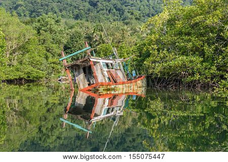 Discarded Wood Boat In Mangrove Forest.