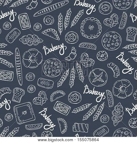 Vector seamless pattern with hand drawn isolated bakery products on gray background. Pattern on the theme of food. Background for use in design