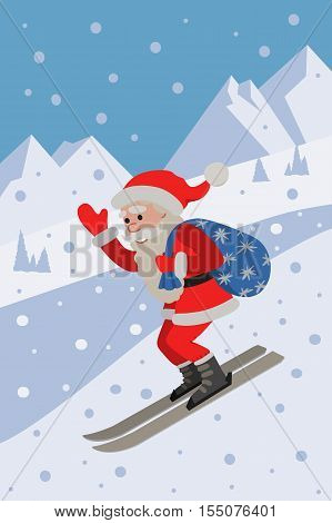 Vector illustration of skiing Santa on background the slope mountain. Winer sport.