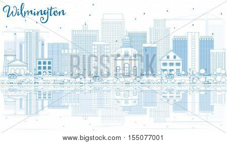 Outline Wilmington Skyline with Blue Buildings and Reflections. Business Travel and Tourism Concept with Modern Buildings. Image for Presentation Banner Placard and Web Site.