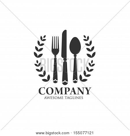 eat  logo with vintage and classy style with spoon knife and fork icon ,template logo for restaurants, cafe, fast food