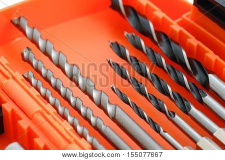 Drill Bit Set In Box Isolated