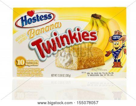 Winneconne WI - 2 November 2016: Box of Hostess banana twinkies on an isolated background.