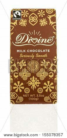 Winneconne WI - 2 November 2016: Divine milk chocolate candy bar on an isolated background.