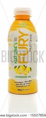 Winneconne WI - 3 November 2016: Bottle of Nature's Fury lemonade tea on an isolated background.