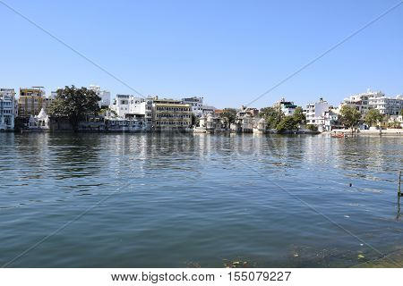 Buildings along lake Pichola in Udaipur, Rajasthan, India