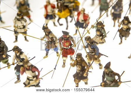 OSAKA, JAPAN - OCTOBER 9, 2016: Miniature soldiers at Osaka castle in Japan. The castle is one of Japan's most famous landmarks and it played a major role in the unification of Japan.