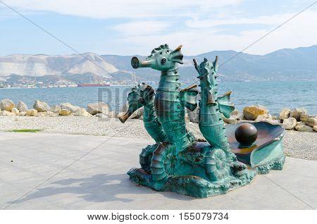 Novorossiysk Krasnodar Krai Russia - August 28 2016. Bronze Seahorses. Urban sculpture on the Shore Promenade of Novorossiysk.
