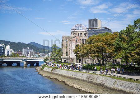 HIROSHIMA, JAPAN - OCTOBER 10, 2016: Hiroshima Peace Memorial in Japan. It was designated a UNESCO World Heritage Site in 1996