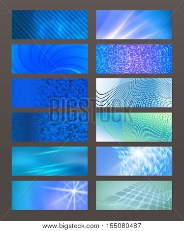 Set Horizontal Banner Design Element Background Glow Abstract Shape02