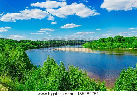 view from a height of the Vyatka river on a summer day