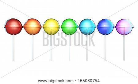 Line of brightly colored lollipops. Candies on stick in a row isolated on white background. Seven colors of the rainbow. The colors of the spectrum.