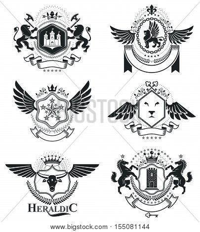 Heraldic signs elements heraldry emblems insignias signs vectors. Classy high quality symbolic illustrations collection vector set.