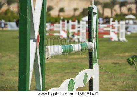 Closeup Up An Equestrian Showjumping Hurdle
