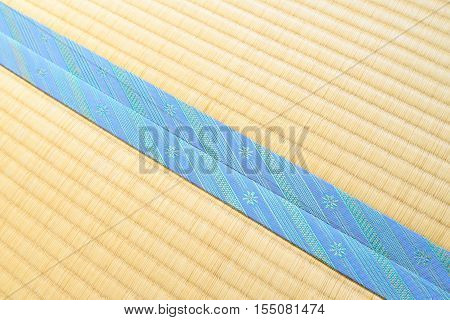 Tatami with light blue edging ribbon, diagonal