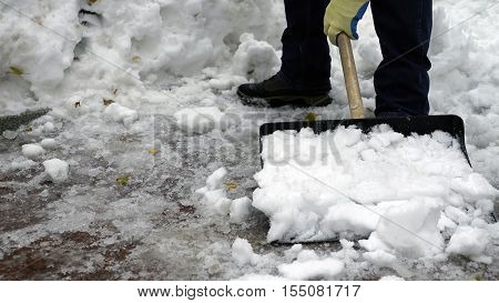 man cleans snow from the yard shovel
