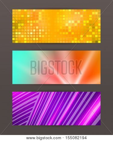 Set Horizontal Banner Design Element Background Glow Abstract Shap08
