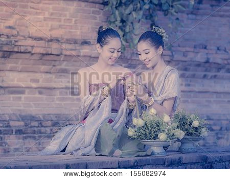 Thai traditional Uniform dress, Thailand ancient traditional skirt,The uniqueness of the dress of Lanna style