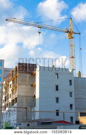Construction. Crane. Construction crane Crane to lift cargo
