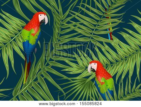 Seamless tropical parrot bird pattern, exotic background with palm tree branches, leaves, leaf, palm leaves. endless texture with parrot bird