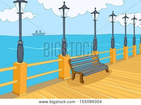 Hand drawn cartoon of summer background. Colourful cartoon of embankment. Background of sea promenade with streetlight and wooden bench in a sunny summer day. Cartoon of walkway along the sea coast.