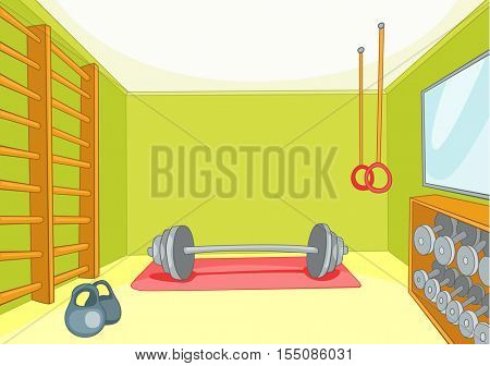 Hand drawn cartoon of gym room. Cartoon background of gym room. Cartoon of fitness center interior. Background of fitness gym room interior with barbell and weight. Cartoon of gym with equipment.