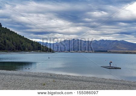 Tekapo, New Zealand - February 2016: Unidentified Man Swimming At At Lake Tekapo, South Island Of Ne