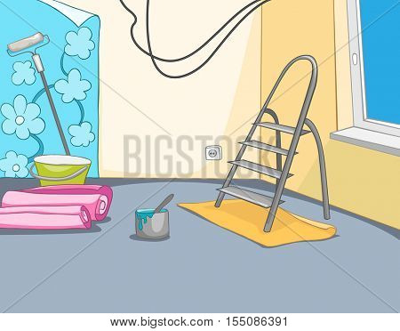 Hand drawn cartoon of construction site. Colourful background of apartment renovation. Cartoon of repairs in the apartment. Background of unfinished apartment interior. Background of home renovation.