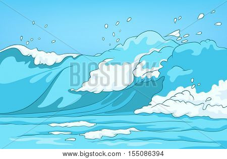 Hand drawn cartoon of sea landscape. Colourful cartoon of sea or ocean background. Cartoon background of sea or ocean with blue waves. Illustration of a huge ocean wave. Cartoon of curling stormy flow