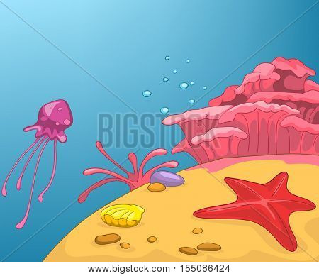 Hand drawn cartoon of sea landscape. Colourful cartoon of underwater life. Cartoon background of underwater world. Cartoon of coral reef on a blue sea background. Cartoon of underwater landscape.