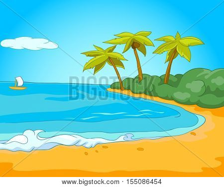 Hand drawn cartoon of summer sea landscape. Background of beach resort. Colourful cartoon of background of seafront. Cartoon background of summer exotic sandy beach with palm trees, sea and sailboat.