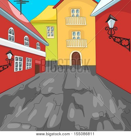 Hand drawn cartoon of urban architecture. Colourful cartoon of city background. Cartoon background of street in the city. Cartoon of urban landscape. Cartoon of residential district with townhouses.