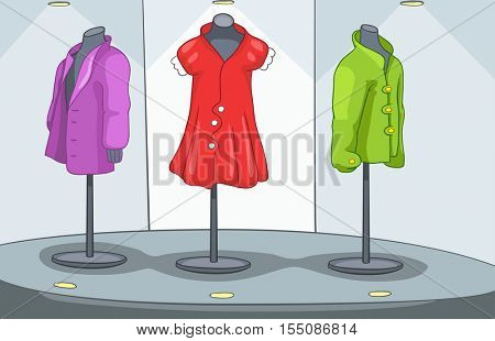 Hand drawn cartoon of clothes shop. Colourful cartoon background of clothing shop. Background of clothing shop with mannequins. Cartoon of boutique window. Background of showcase of clothing shop.