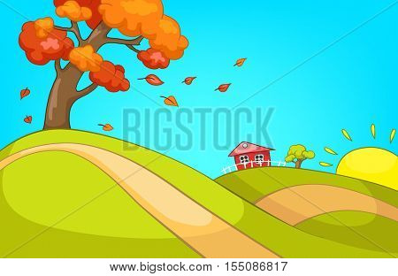 Hand drawn cartoon of autumn landscape. Colourful cartoon of autumn background. Cartoon of hilly countryside in autumn. Cartoon background of autumn landscape with tree with deciduous leaves.