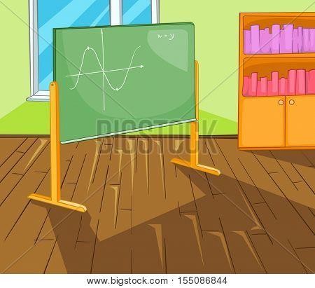 Hand drawn cartoon of schoolroom interior. Colourful cartoon of background of schoolroom. Background of classroom interior. Cartoon background of classroom with blackboard and bookcase.