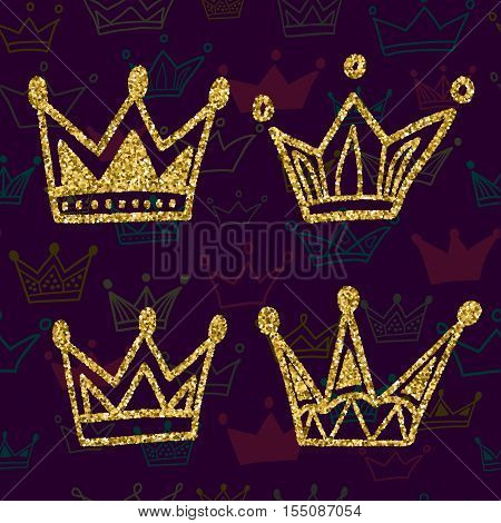 Gold crown set isolated on dark background with seamless pattern. Glitters set of king crowns. Vector Illustration. Graphic design editable for your design.