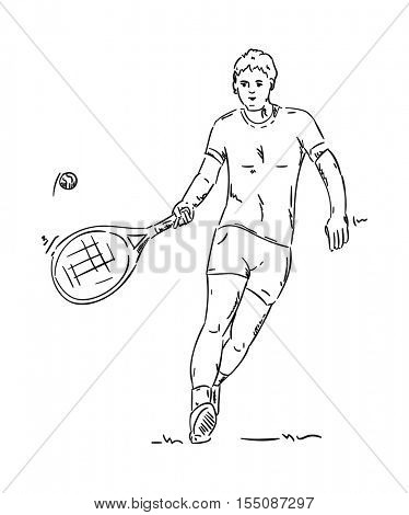 vector - tennis player - isolated on background
