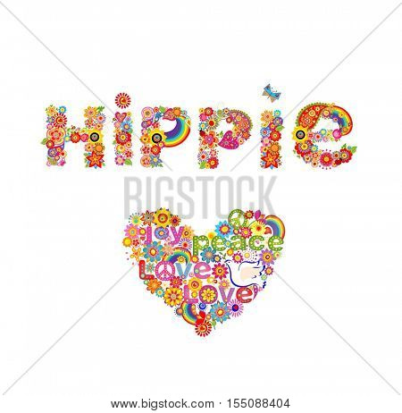 Flower colorful print with hippie lettering and heart shape with flowers, hippie symbolic and dove isolated on white background